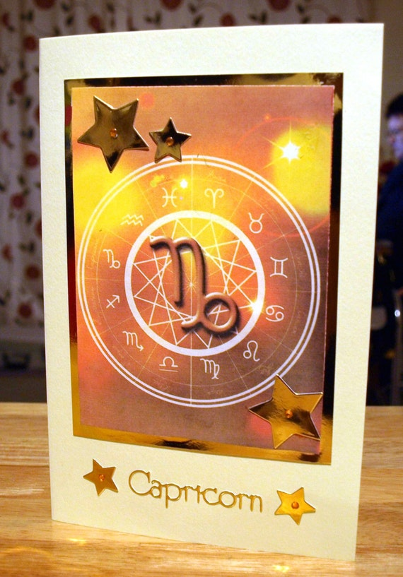 Capricorn Horoscope/Zodiac/Star Sign Handmade Birthday Card - Dec 22 to Jan 19 - luxury personalised unique quality special astrological UK