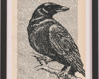 antique dictionary art - crow, dictionary print, dictinary art print,  dictionary page Wall Decor, screen printed, crow, gift poster