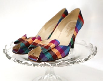 Vintage Stuart Weitzman Sz 6.5B for Neiman Marcus Colorful Plaid Bow Peep-Toe Heels Made in Spain