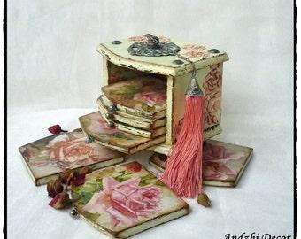 Shabby Chic Wood Coasters,Set of coasters,Shabby Chic Decor,Drink Coasters,Table Coasters,Shabby Chic box,Roses box,Flower Coasters,Rose
