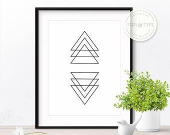 Geometric Shapes, Triangles, 50% Off Sale, Printable Wall Art, Scandinavian Style Black Line Drawing, Modern Minimalist Design Digital Print
