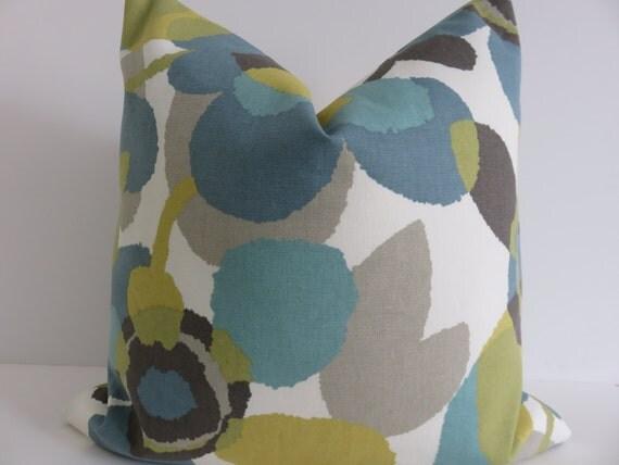 Decorative Pillow Covers Aqua Green Ivory Yellow Light Gray
