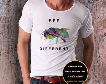 Bee Different,Quote, print on anything, image on transparent background, digital file, Watercolor, printable wall art (1)