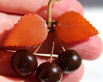 Vintage Antique Real Bakelite Cherry Brooch