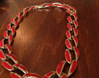 Vintage  Red and Gold Enamel Choker, Marked Korea
