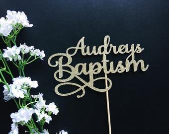 Custom Baptism Cake Topper- Baby Christening/First Communion/Naming Topper/Christening/Cross Topper/Christening Cake/God Bless