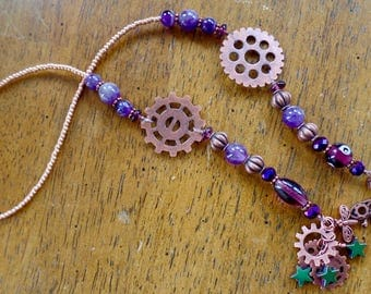 Steam Punk Amethyst and Copper Bookmark