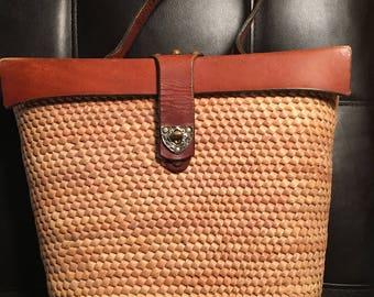 Vintage 1960's John Romain Straw and Leather Handbag