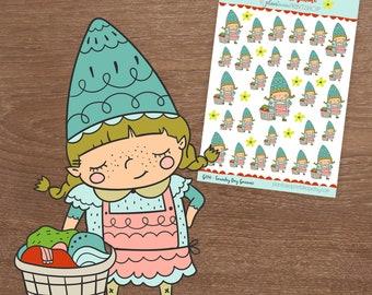 Laundry Day, Gnaomi the Gnome / Gnome Stickers /Laundry Stickers, Erin Condren, Happy Planner, Inkwell Press, Bullet Journal, Filofax