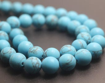 6mm/8mm/10mm/12mm Matte Turquoise Round Stone Beads,15 inches one starand