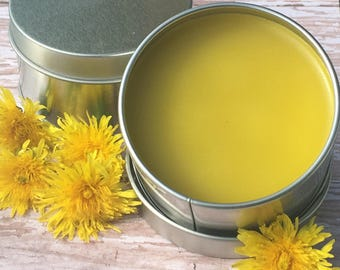 Wild Crafted Dandelion Salve With Essential Oil - Healing salve, Could help sore muscles, arthritis or inflammation - Dreamcatcher soaps