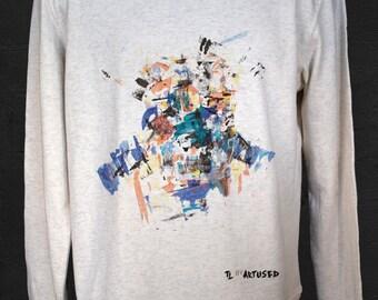 "Men's Sweatshirt Artused Design ""The Lukewarm"" 100% Organic - Paint & Print in France -"