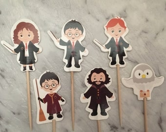 12x Harry Potter Cupcake Picks Toppers Cake Decorations Kids Novelty Birthday Party Supplies