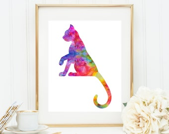 Watercolor Cat Art, Rainbow Cat Print, Cat Painting, Modern Cat Artwork, 3d Cat Art, Abstract Cat Art, Nursery Cat Art, Nursery decor