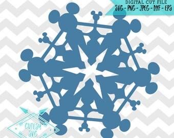 Mickey Snowflake - SVG, Disney, Digital file, Silhouette Studio, DXF PNG Cricut Cutting Vinyl, Christmas, Rudolph, Deer, Antlers