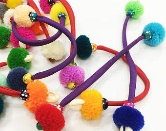 Set of 10 Pompoms Zipper Pull Handmade Accessories Bag Decoration