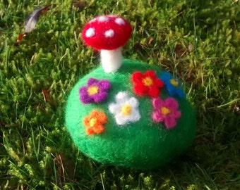 Felt toadstool and flowers pebble