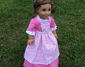 Colonial Day Dress and Pinner Apron for 18'' dolls like American Girl