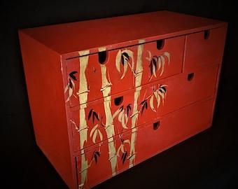 Mini chest bare wooden handpainted.