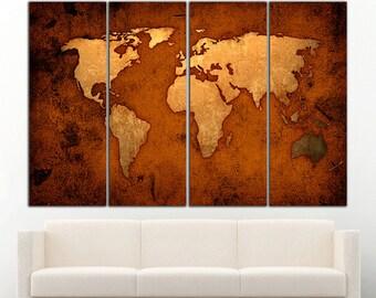 World Map Canvas Print Wall Art World Map Wall Decor World Map Print Old World Map Wall Art Travel Map Canvas Art Canvas Decor