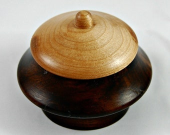 Black walnut and maple lidded container