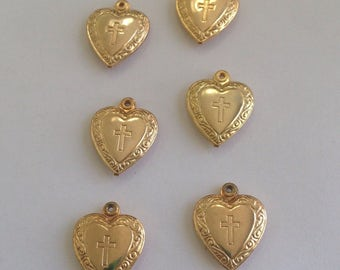 Lot of 6 Beautiful VINTAGE 1960's Catholic Puffy Heart Charms with Virgin Mary & Holy Cross - Religious Jewelry, crafting, jewelry supply