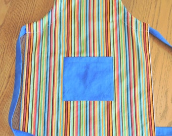 Child's Chef Apron - Stripes with Blue