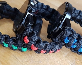 Tactical Edge GT Paracord Watch Emergency Services - Red Line - Blue Line - Green Line