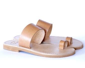 Greek leather Sandals, Women, Men handmade toe ring slingback sandals