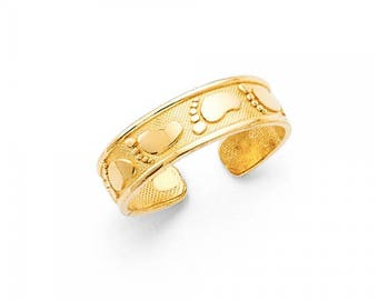 14K Solid Yellow Gold Footprint Toe Ring Adjustable - Foot Feet Polished Band