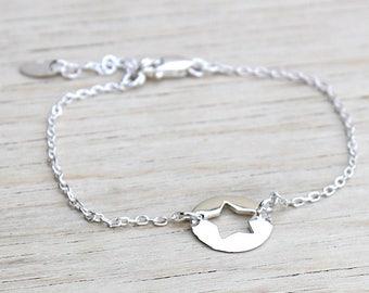 Medal on chain 925 Silver Star bracelet