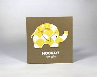 Hooray! New Baby Elephant Card - Yellow Bow - Baby Shower - Expecting - Welcome Baby - Girl Or Boy - Congratulations