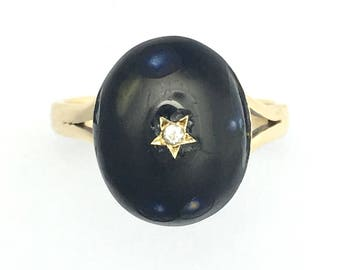 Antique Victorian 9CT Gold Diamond Enamel Five Pointed Star Ring