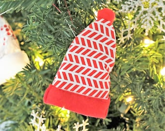 Modern Holiday Ornaments, Modern Holiday Decorations, Elf Ornament, Personalized Christmas Elf Hat Ornament, Elf Christmas Ornaments