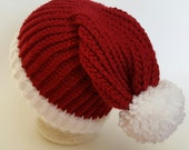 Santa Hat, Santa Beanie Hat, Winter Hat, Elf Hat, Red Beanie Hat, Christmas Hat, Christmas Beanie Hat
