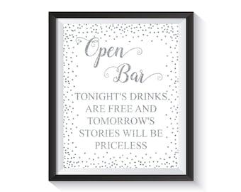 Open bar wedding sign, Silver confetti  Reception Bar Sign, Open Bar Printable, Wedding décor, Funny bar decoration, Alcohol bar sign