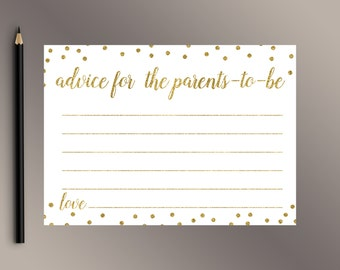 Advice for Parents-To-Be, Printable Baby Shower Games, Gold Polka Dots Baby Shower game, Advice for Mom-To-Be, Fun Baby Shower activity