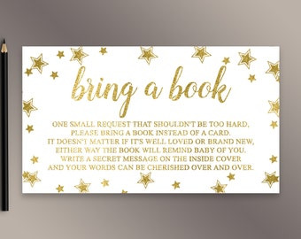 Bring a book instead of a card, Twinkle Twinkle Little Star Book Request, Gold Baby Shower Invitation Insert, Book for Baby, Gender Neutral