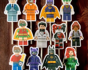 LEGO BATMAN MOVIE Cupcake Toppers / Cake Toppers / Die Cuts / Birthday Party / Decorations / Cake Pops / Supplies / Decor
