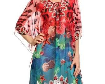 Kimono Tunic Plus Size 1X 2X 3X Chiffon Versatile Bohemeian Romantic Party Vacations Hand Made in Malibu Studio California Boho Design