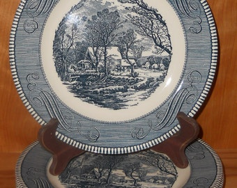 CURRIER and IVES Dinner Plates - Set of 5 -  The Old Grist Mill - Royal China by Jeannette Corp. - USA - Farmhouse Decor - Fine Dinnerware