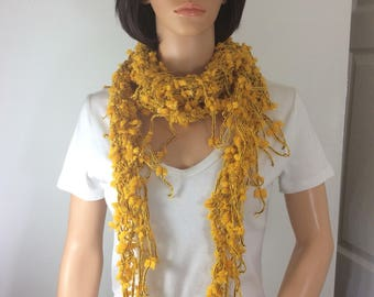 yellow scarf, winterweight scarf, warm accessory , hand knit scarf, cozy  yellow scarf, yellow accessory , female gift, present for mom,