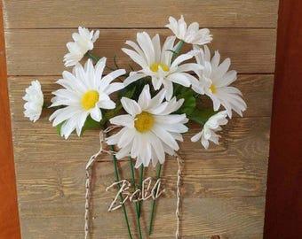 String art barn board mason jar with flowers