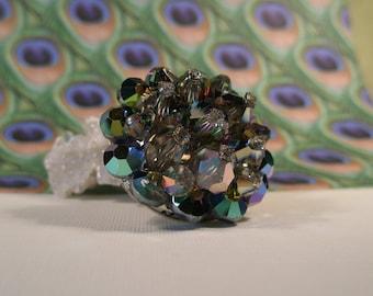 Green and Blue rhinestone brooch