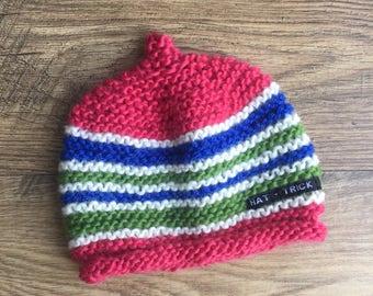 Kids' knit beanie, kids' hat, hand-knitted beanie, hand-knitted hat, kids' clothing, childrens' clothing, kids' accessories, knit beanie