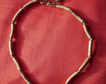Vintage gold coloured beaded necklace Made in Italy