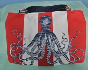 Handmade OCTOPUS handbag purse!  Red, white, blue, stripes. 2 pockets, magnetic closure