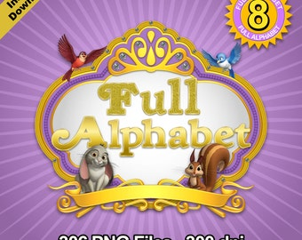 Princess Sophia - Alphabet Clipart - 8 Designs 8 Alphabets - 306 png files 300 dpi + Free Clipart - Sophia The First