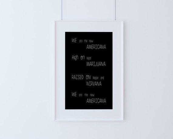 We Are The New Americana, Halsey, Lyrics, Digital Poster, Instant Download, Printable Art, Inspirational Print, Wall decor,