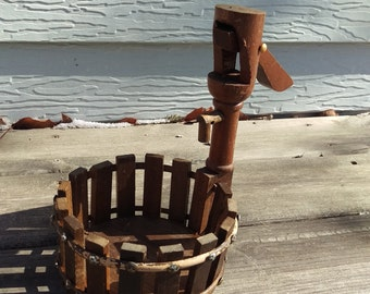 Wooden Water Pump Plant Holder